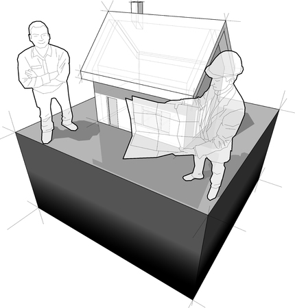 detached house with architect and customer diagram Stock Illustratie