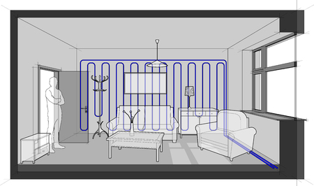 Diagram of a single room furnished with sofa and chair and table and cabinets and ceiling lamp and cloths hanger and painting on the wall cooled with wall cooling