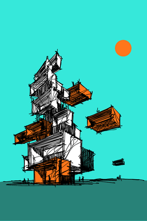 hand drawn illustration of abstract modern futuristic building or tower