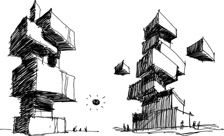 two hand drawn architectectural sketches of a modern abstract architecture with people around Stock Illustratie