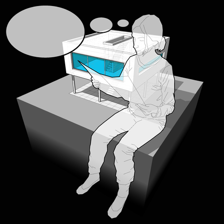 diagram of a modern house and sitting woman reading paper in front of it with comic thought bubble