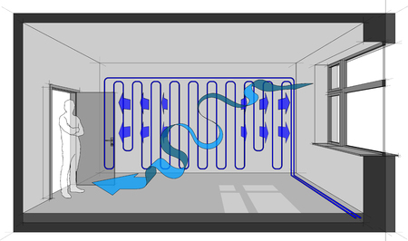 Diagram of a room cooled with wall cooling and natural air ventilation arrow Stock Illustratie
