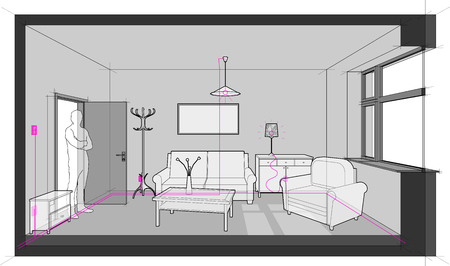 diagram of a single room furnished with sofa, chair, table, cabinets, ceiling lamp, cloths hanger and painting on the wall and electric installations, cables, switches and lamps Ilustração