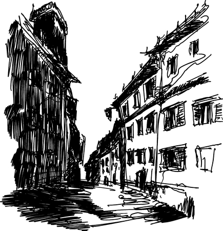 architectural sketch of narrow street with old houses with deep dark shadows