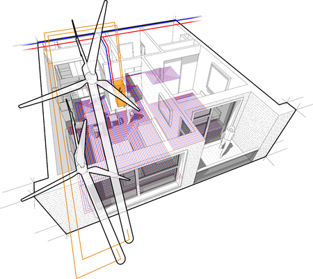 Perspective cutaway diagram of a one bedroom apartment completely furnished with hot water floor heating and central heating pipes as source of heating energy for floor heating