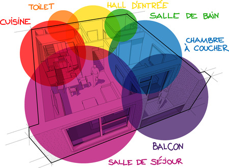 Perspective cut away diagram of a one bedroom apartment completely furnished with circular colorful zone bubbles and hand drawn notes over it in french language Ilustração