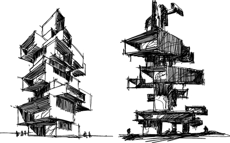 two hand drawn architectural sketches of a tall modern abstract buildings or residential tower