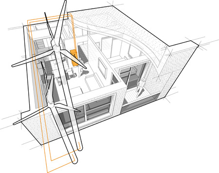 Perspective cutaway diagram of a one bedroom apartment completely furnished with flat roof cutaway over it with wind turbines as source of electric energy