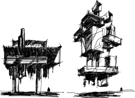 two hand drawn architectectural sketches of a modern abstract futuristic architecture with people around Illustration