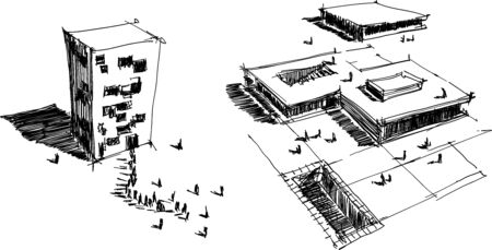 two hand drawn architectectural sketches of a modern abstract architecture with people around Illustration