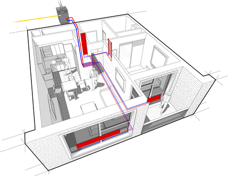 Perspective cutaway diagram of a one bedroom apartment completely furnished with hot water radiator heating and gas water boiler as source of energy for heating Ilustração