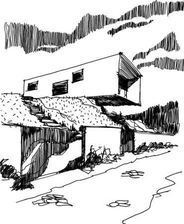 hand drawn sketch of modern detached house with fence and entrance gate situated in steep slope