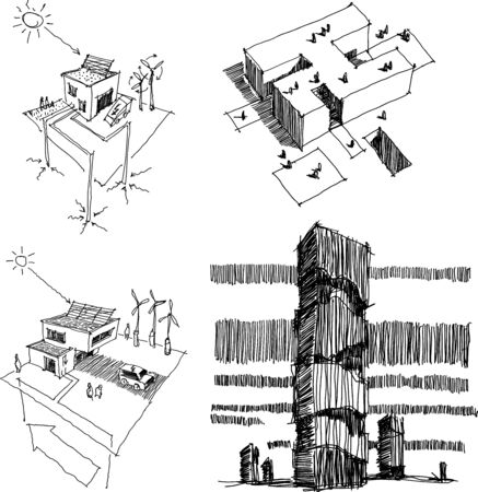 four hand drawn architectectural sketches of a modern architecture and modern detached house with alternative energy sources Standard-Bild - 130951841