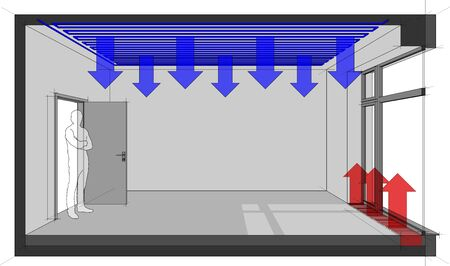3d illustration of empty room with door and tall french window and standing man in the opened door and ceiling cooling and floor convector for heating in front of window Vetores