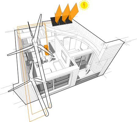 apartment completely furnished with flat roof cutaway over it with wind turbines and photovoltaic panels on the roof as source of electric energy