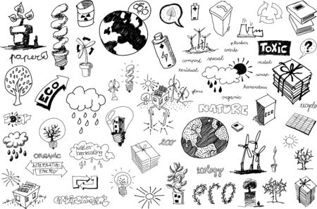 many hand drawn sketches of topics regarding nature nd environment and ecology and recycling and pollution Illustration