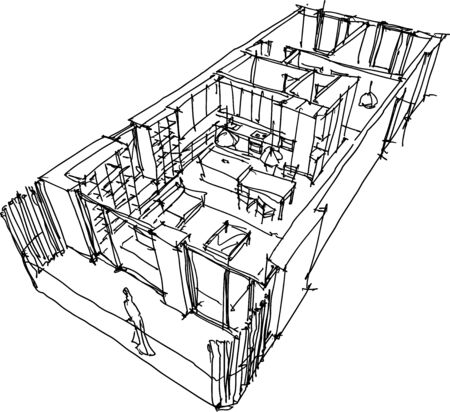 hand drawn sketch of Perspective cut away diagram apartment completely furnished