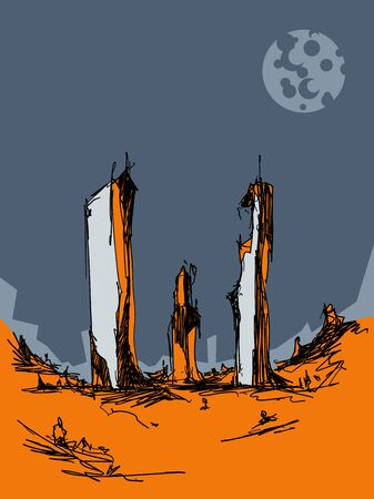 sketchy illustration of fantastic landscape with futuristic architecture and moon in the sky