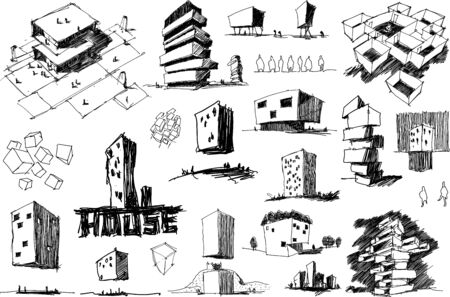 many hand drawn architectectural sketches of a modern abstract architecture nad geometric objects and urban ideas and drafts and bank building