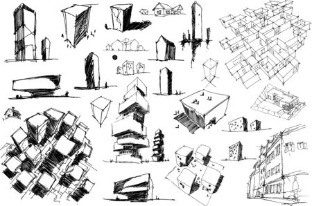 many hand drawn architectectural sketches of a modern abstract architecture nad geometric objects and urban ideas and drafts Ilustração