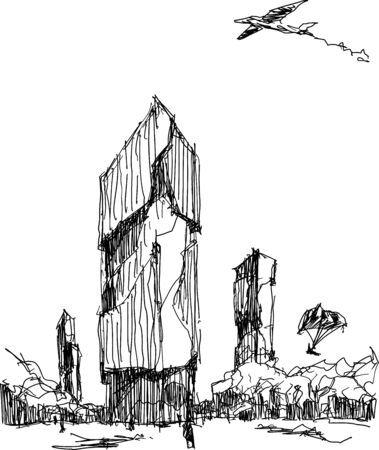 hand drawn architectural sketch of a modern abstract architecture with tall building and plane flying above