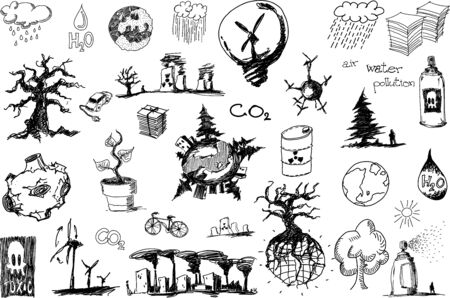 many hand drawn sketches of topics regarding nature nd environment and ecology and trees and wind energy Ilustração