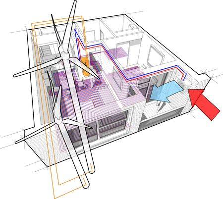 Apartment diagram with floor heating and heat pump and connected to the wind turbines Ilustração