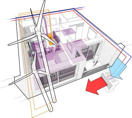 Perspective cutaway diagram of a one bedroom apartment completely furnished with hot water floor heating and air source heat pump with central heating system as source of heating energy and with wind turbines as source of electric energy