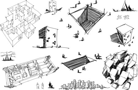 many hand drawn architectectural sketches of a modern abstract architecture nad geometric objects and urban ideas and drafts Illustration