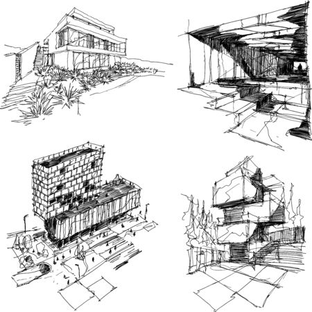 four hand drawn architectectural sketches of a modern abstract architecture with people around