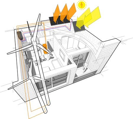 Apartment diagram connected to the wind turbines and photovoltaic and solar panels