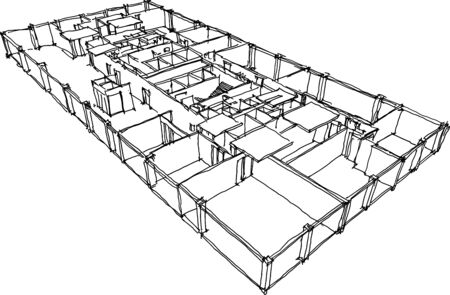 hand drawn architectural sketch of a typical floor in modern office building Ilustracja