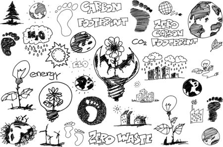 many hand drawn sketches of topics regarding nature and environment and ecology and carbon footprint 일러스트