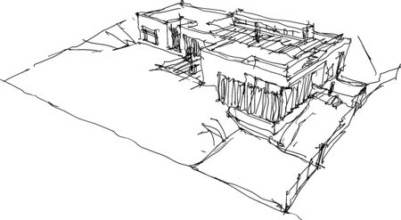 hand drawn architectural sketch of detached house or bungalow situated in the steep slope Çizim