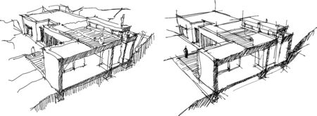 hand drawn architectural sketches of cross section through a modern detached house Standard-Bild - 137277054