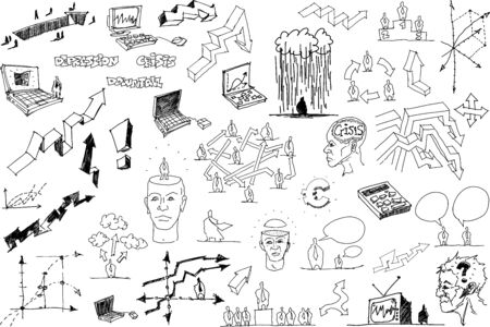 great collection of hand drawn sketches of topics regarding business concept and success and crisis and management and market and social networking