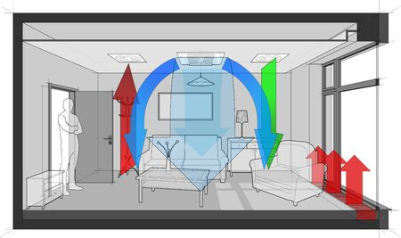 3d illustration of  furnished room with sofa and chair and table and cabinets and ceiling lamp and cloths hanger and painting on the wall room with door and tall french window heated by floor convector and standing man in the opened door and ventilated and cooled by ceiling built in air ventilation and air conditioning