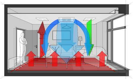 3d illustration of  empty room with door and tall french window heated by floor heating and standing man in the opened door and ventilated and cooled by ceiling built in air ventilation and air conditioning Иллюстрация
