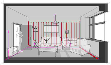 Diagram of a single room furnished with sofa, chair, table, cabinets, ceiling lamp, cloths hanger and painting on the wall heated with wall heating and with electric installations, cables, switches