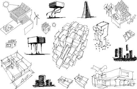 many hand drawn architectectural sketches of a modern abstract architecture and detached houses with energy concepts and urban ideas Ilustracje wektorowe