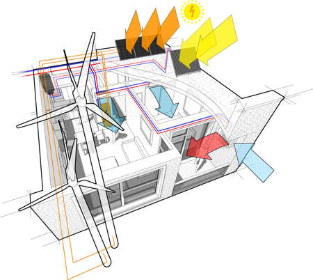 Apartment diagram connected to the wind turbines and photovoltaic and solar panels and air conditioning