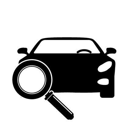 Looking For Car selling icon, magnifying glass search car, car deal vector illustration.