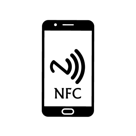 NFC illustration. Mobile payment. NFC smart phone concept flat icon. 向量圖像