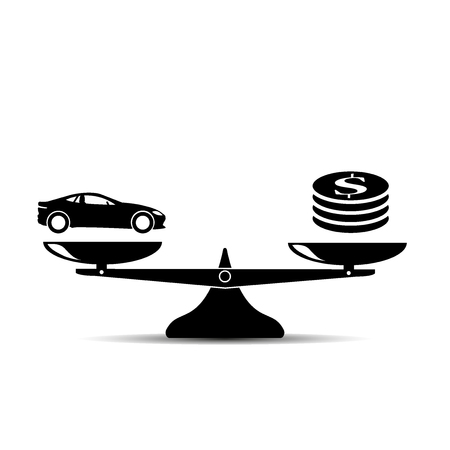 Car and money on scales icon, vector