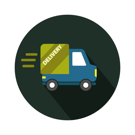 Delivery truck icon isolated on round background.