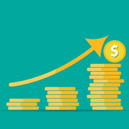 Vector illustration on a business theme. Income growth, business development, the analysis of the market, the development of a strategy for increasing revenues.