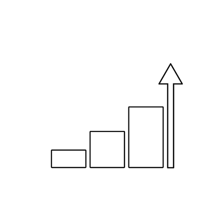 Growing graph icon, vector isolated flat style symbol. Çizim