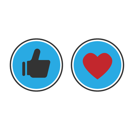 Thumbs up and heart icon on a blue background. social media icon, web, etc