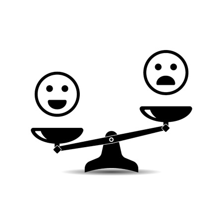 Smile emoticons different mood on scales, vector icon. Positive attitude as advantage. Happiness versus sadness.
