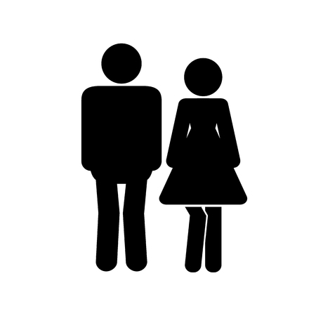 Male and female icon thin line for web and mobile, modern minimalistic flat design.